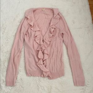 Pale pink jcrew ruffle sweater